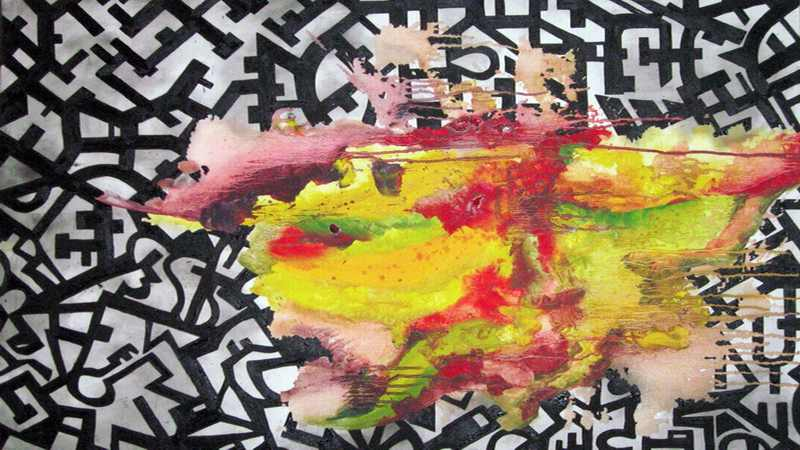Farbexplosion vor Grau